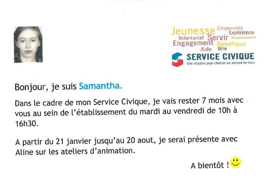 Bienvenue à Samantha !
